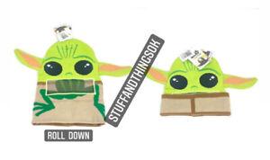 Disney Star Wars The Mandalorian Baby Yoda Beanie Hat Rolldown Mask Cap NEW