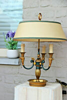 Vintage French bouillotte Empire eagle head bronze table lamp