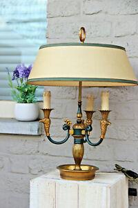 Vintage French bouillotte Empire eagle head bronze table lamp
