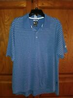 Mens Adidas Climalite Striped Polo Golf Shirt Size Medium Blue White