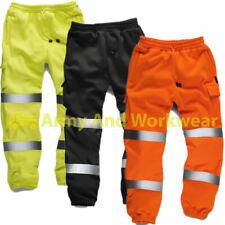 Hi Viz Mens Combat Work Wear Jogging Bottoms Thick Brush Trouser Safety Joggers