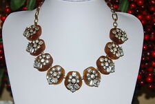 CARA NY BIB NECKLACE OF GOLD TONED METAL & ACRYLIC BROWN PIECES WITH RHINESTONES