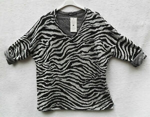 Lagenlook! Wunderbarer Tunika-Puli, Gr. 46, schwarz/weiß, Phantasiemuster