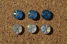 Set of 6 blingy Snowflake Ab bulletin board pushpins / thumbtacks, or magnets.