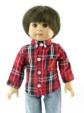 "Red and Black Plaid Shirt Fits American Girl or Boy 18"" Doll Clothes"