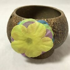 Real Carved Coconut Party Drink Cups Hawaiian Luau Tiki BarWare Yellow Flower