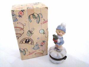 Porcelain Hinged Box  - Enesco Girl With Mistletoe Trinket Box