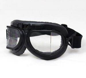 Vintage RAF Style Pilot Goggles - Black or Chrome - Flying Aviator Biker Helmet