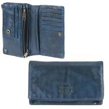 Bear Design Damen Geldbörse 14 Kartenfächer Portemonnaie Geldbeutel Leder blau
