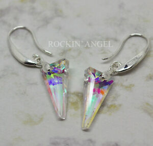 925 Silver Plt Clear Rainbow Crystal Triangle Drop Dangle Earrings Ladies Gift