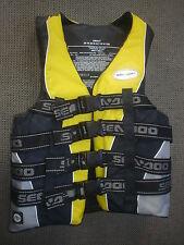 "SEA DOO Life Vest Ski Vest PFD Adult Small 32"" to 36"" Yellow & Black New OEM"