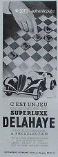 PUBLICITE AUTOMOBILE DELAHAYE SUPERLUXE JEU DE DAMES DE 1934 FRENCH AD CAR PUB