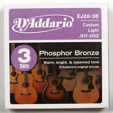 D'Addario 3 Pack EJ26 Acoustic Guitar Strings 11's - 52