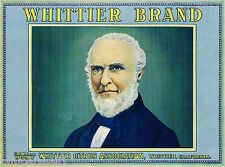 Whittier Quaker John Whittier Lemon Citrus Fruit Crate Label Vintage Art Print