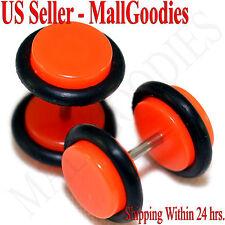 2069 Neon Orange Fake Cheater Illusion Faux Ear Plugs 16G Bar 0G = 8mm Look 2pcs