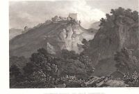 1840 Vittoriano Stampa ~ PEVERIL'S Castle The Peak ~
