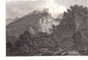 1840 Viktorianisch Aufdruck ~ PEVERIL'S Schloss The Peak ~