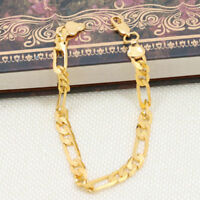 6mm Gold Mens Punk Stainless Steel Chain Wristband Clasp Bangle Bracelet Gifts