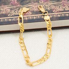 6mm Wrist Chain Flat Gold Plated Bracelet Cuff Charming Fashion Jewelry Gift