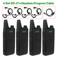 QTY 4pcs WLN KD-C1 UHF 400-470 MHz Two Way Radio Audio+ Program Cable+ Headset