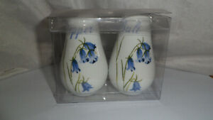 new still boxed salt and pepper pots with bluebells on