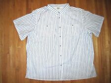 King Size Big & Tall White/Blue Stripe Oxford Button Front Casual Shirt 6XLT New