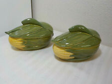 2 VINTAGE SHAWNEE CORN KING INDIVIDUAL SMALL CASSEROLE DISHES W/LIDS #73