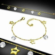 Stainless Steel Golden - Chain Ankle Bracelet With Charms In The Shape Star