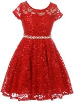 Red Floral Lace Top Glitter Pearl Sash Wedding Formal Party Flower Girl Dress