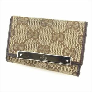 Gucci Key case Key holder G logos Beige Brown Woman unisex Authentic Used L2479