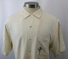 Luau Palm Tree Hawaiian Silk Shirt Mens XL Cream Limited Edition Size Med M
