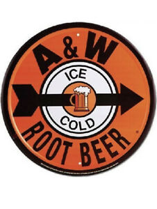 Retro A&W Ice Cold Root Beer Round Metal Sign Wall Hanging Orange Black