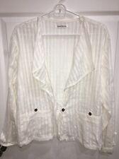 Yasuko Kurisaka White 100% Cotton Long Sleeve Shirt, Jacket EUC