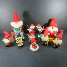10 Vintage Swedish Wooden Dolls Sweden Handmade Folk Art (Christmas Elves)