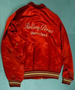 Rolling Stones Red Satin Jacket Rock & Roll Halsy Sailor Label-1970s-RLRS