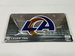 Los Angeles Rams NFL Silver Laser Tag License Plate