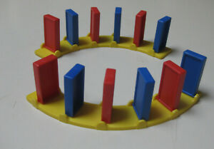 Vintage Domino Rally Replacement Parts - 2 Curved Pivot Tracks with dominoes set