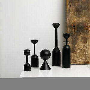 Black Wooden Candle Holder Candlestick Geometric Design Retro Style Decor