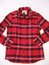 New Hollister Abercrombie Mens Guys Red black Plaid Flannel Button Up Shirt L