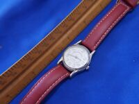 WS35B W Z BERGER RED LEATHER BAND SILVER tone watch new battery