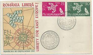Romania Rumänien exile rare se-tenant FDC Europa CEPT1961,Dallay catalogue