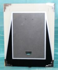 """Vintage Art Deco Reverse Painted PICTURE FRAME 7 x 9"""" Cream Black Silver-2 Oops"""