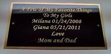 "Engraved  3"" x 6"" Solid Brass Plate Picture Frame Art Memorial FREE Engraving"