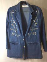 Bedford Fair Womens Size L Petite Blazer Jacket Blue Denim Embroidered Floral