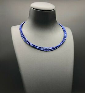 Small 3 Strands Necklace with Natural Lapis Lazuli Tiny Beads