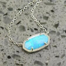 NWOT Kendra Scott Elisa Ocean Blue Kyocera Opal Necklace Silver Tone