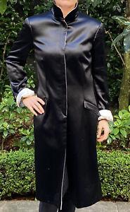 Giorgio Armani Black and White Silk Coat, Sz 44 IT or Aus 12