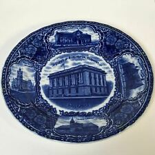 Rare View's of Burlington Vermont Post Dark Flow Blue English Plate