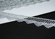 **** Super Fine Metallic LACE TRIM  - SILVER - 20mm Wide ****