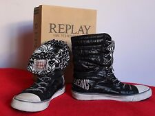 REPLAY size  40  US 9 women sneakers high top  shoes boots  black  Warm